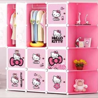 Kitty凱蒂貓卡通簡易衣櫃「組合組裝、收納樹脂、塑料魔片、儲物轉角衣櫃」