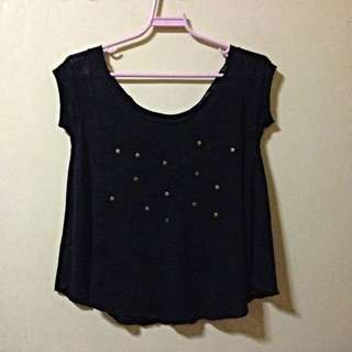 Black Loose Top + Gold Studs