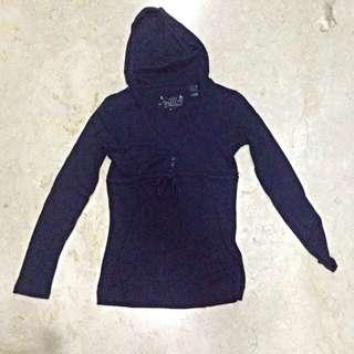 MANGO Dark Blue Long Sleeved Blouse with Hoodie