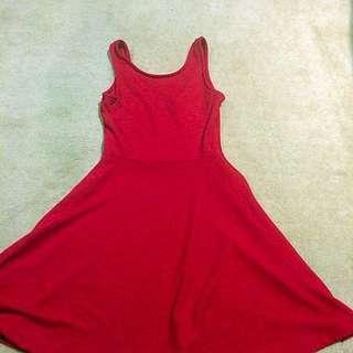 Cute Sleeveless Red Summer Dress