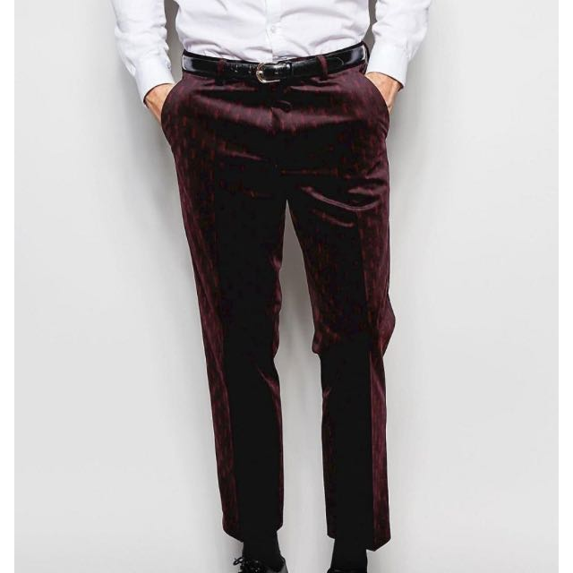 34W/32L Burgundy Velvet Dress Pants
