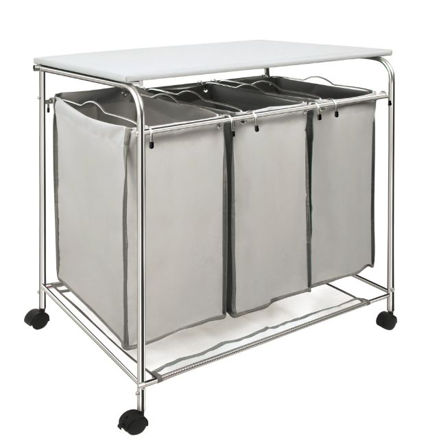 3 Compartment Laundry Cart Basket Trolley w/ Iron Board