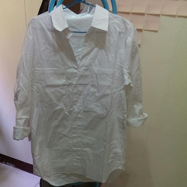 修身長版純白襯衫
