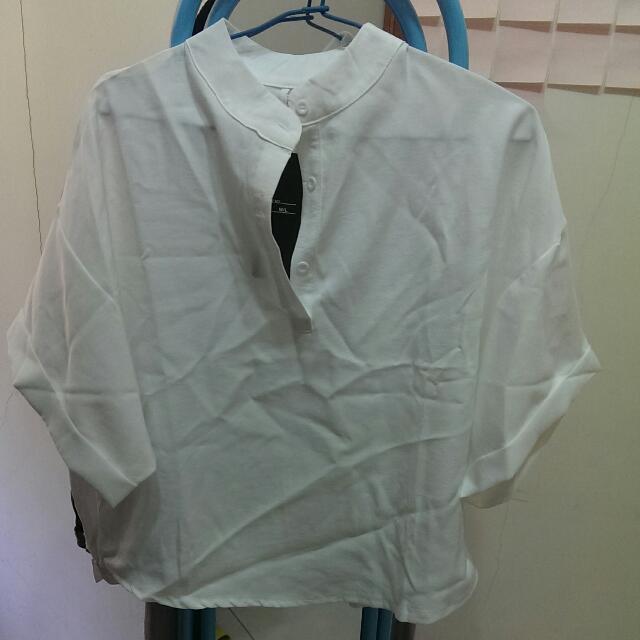 五分袖立領短版衫