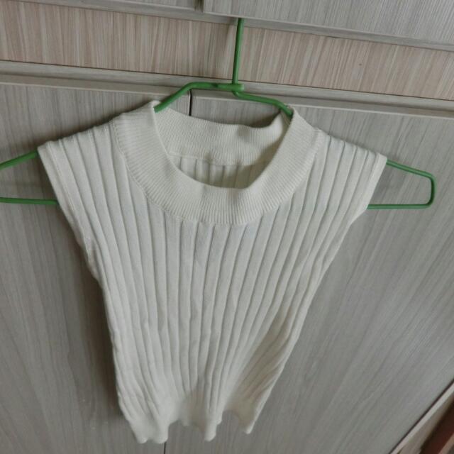 針織無袖高領