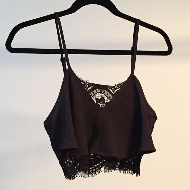 Black Lace Crop Tobi Tank