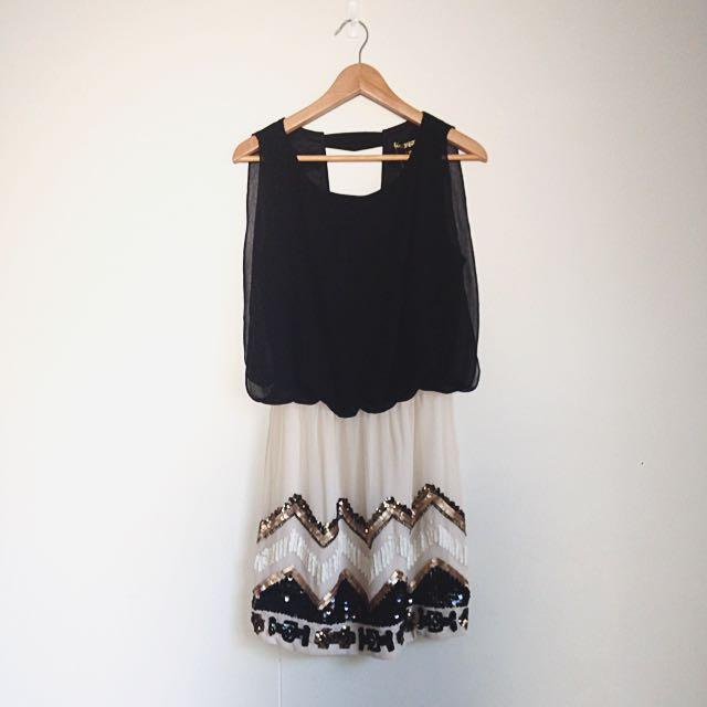 Black Metallic Sequin Dress