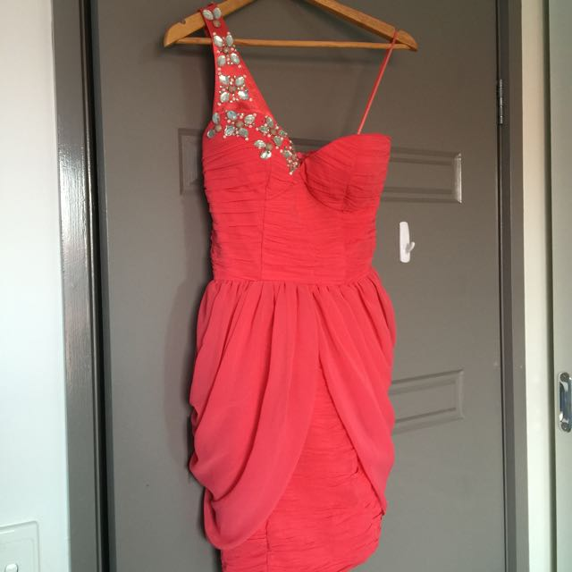 Cocktail Mini Dress - Coral Size 8