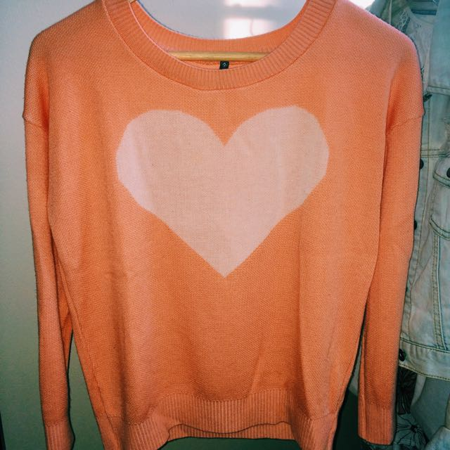 Coral Heart Sweater