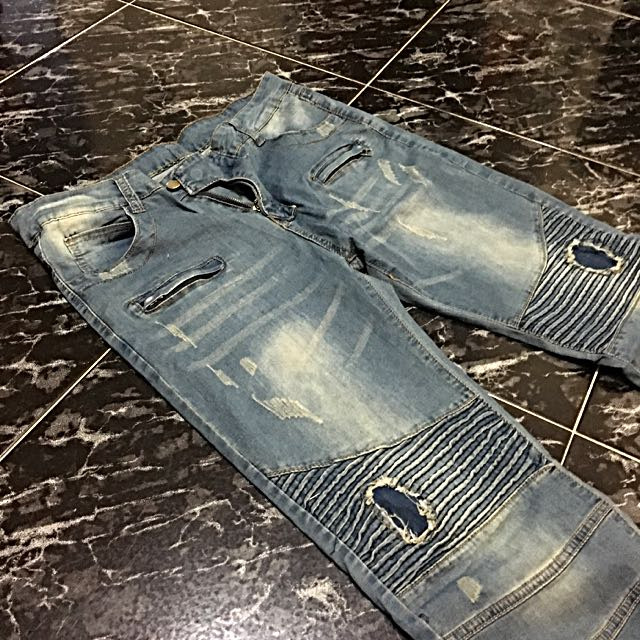 Distressed Biker Denim / Jeans
