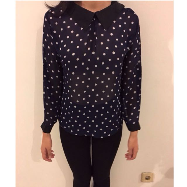 Dotted Loose Top Navy