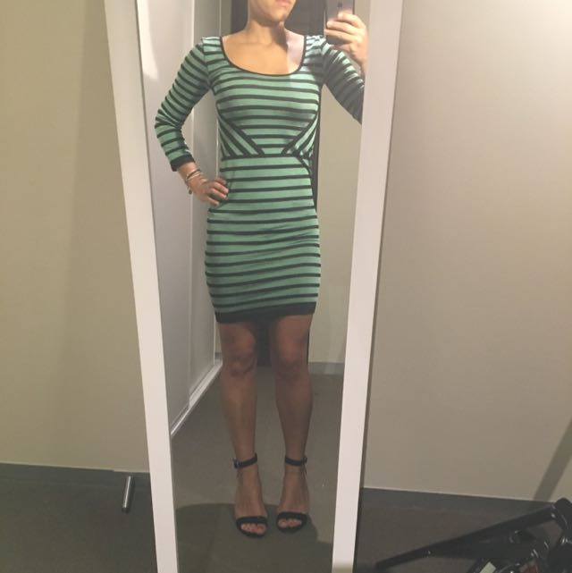 Green And Black Cocktail Dress