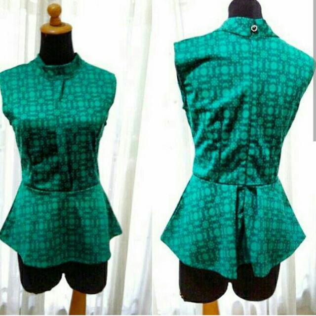 Green Peplum Ethnic Top