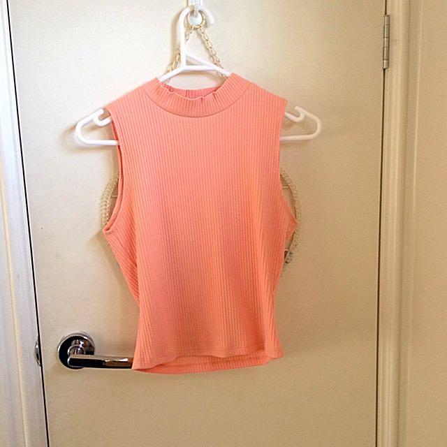 High Neck/Baby Pink/Ribbed Shirt