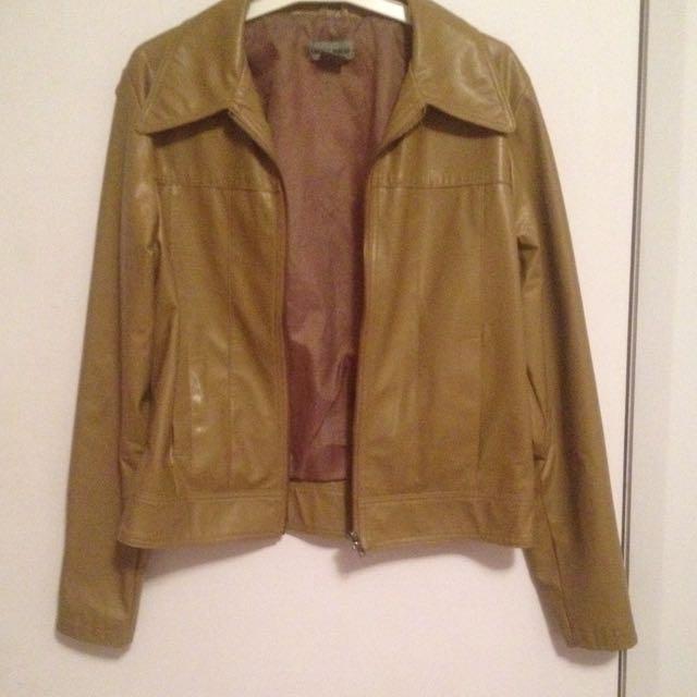 Khaki Fake Leather Jacket