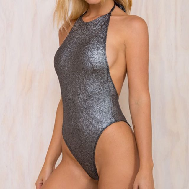 Metallic Silver Bodysuit