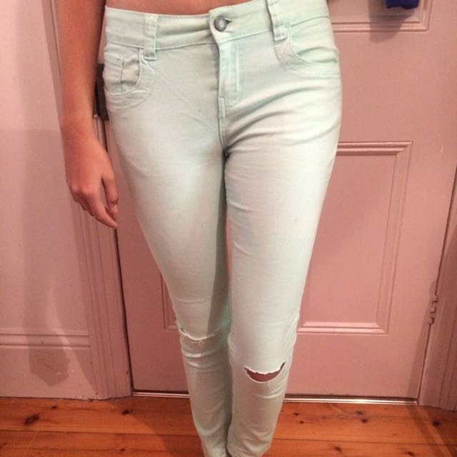 Mint Blue Ripped Fit Jeans