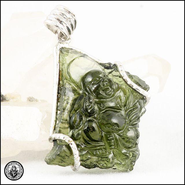 MOLDAVITE Hand Carved Laughing Buddha Maitreya Hotei Sterling Silver Amulet  捷克陨石笑佛牌 5 5grams