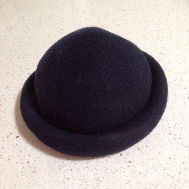 Navy Blue Vintage Bowler Hat