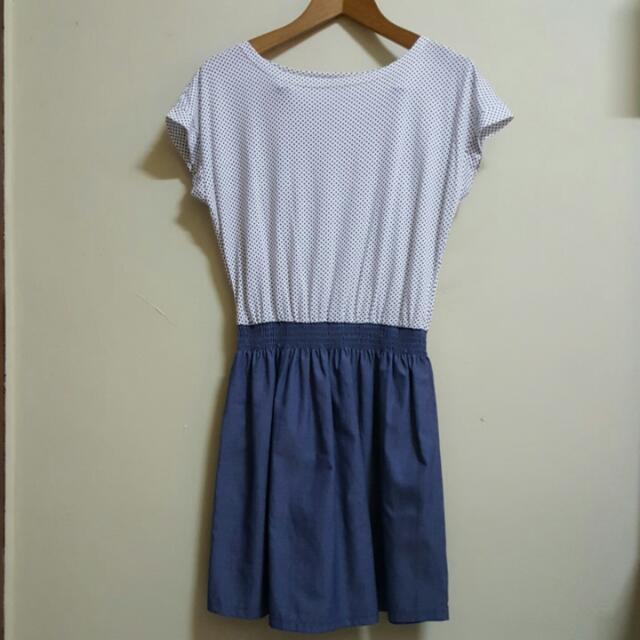 Nevada White Polkadot Denim Two Toned Dress