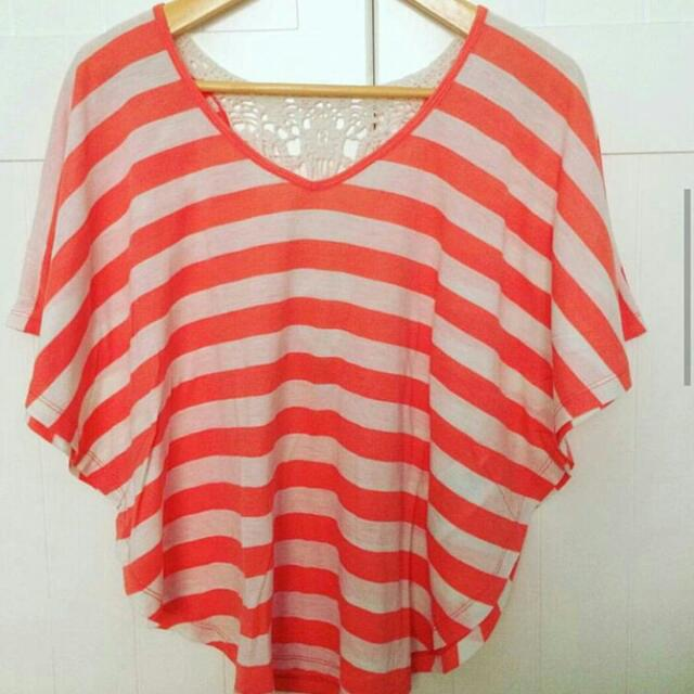 Peach Stripes Batwing Top