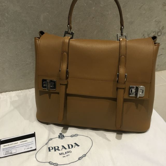 PRADA Women's Leather Handbag In Caramel