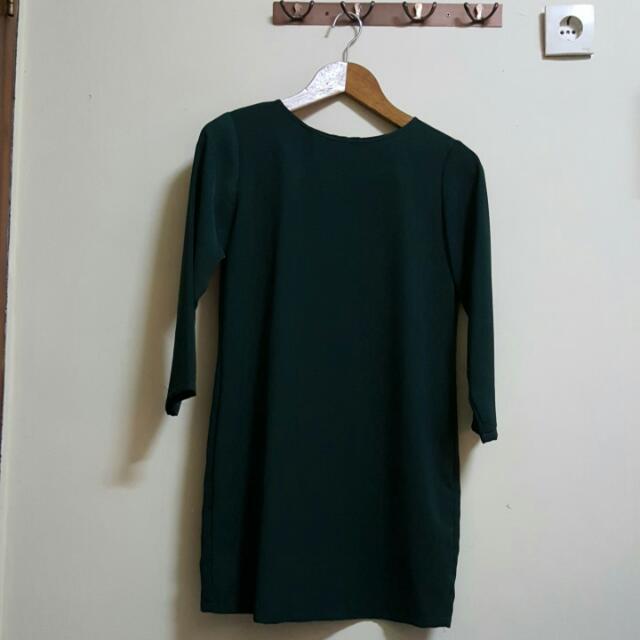 Shopatvelvet Dark Green 3/4 Sleeves Dress