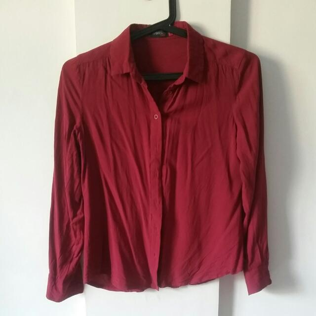 SM Woman Career Maroon Buttondown Blouse