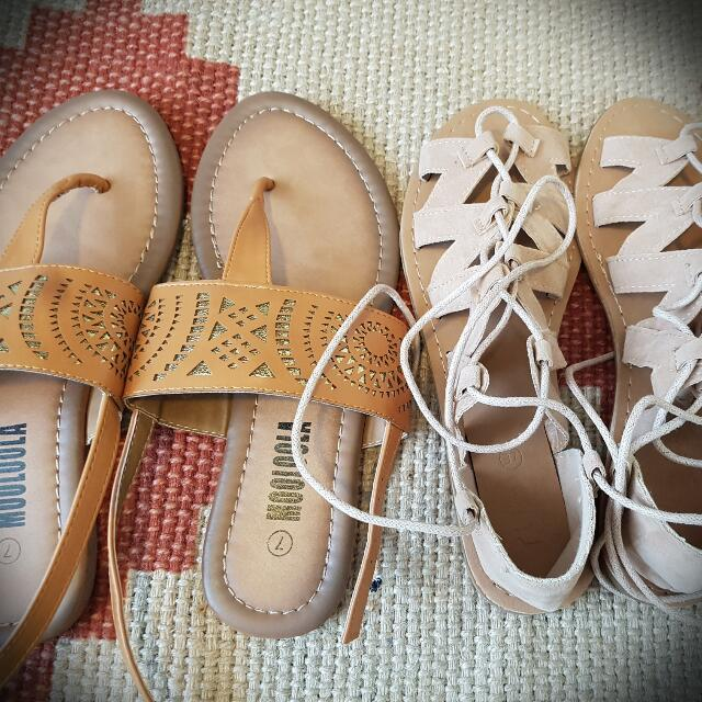 Two Pairs Of Sandals Tan