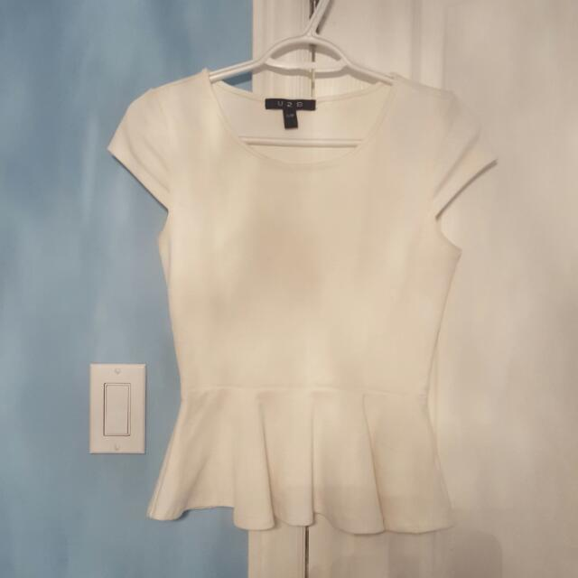 U2B White Peplum Top