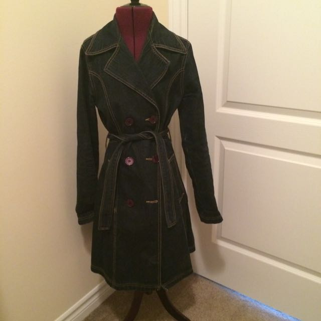 Womens Size Extra Small Jean Trench Coat