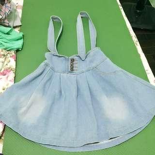 淺藍綁帶可愛吊帶裙