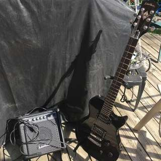 Washburn Black Electric Guitar + Amp
