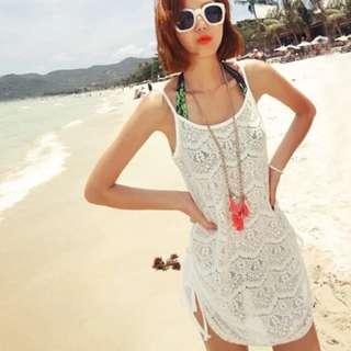 沙灘裙 露背 刺綉薄紗 蕾絲 比基尼面衫 Bikini