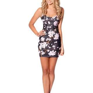 🍉 BlackMilk Cherry Blossom Black Dress - Size XS (incl shipping)