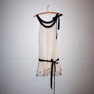 Cream 20's style drop-waist party dress. Size 10.