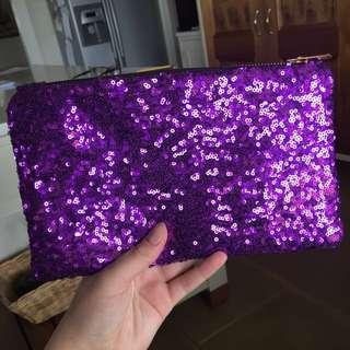 Purple Sequinned Clutvh