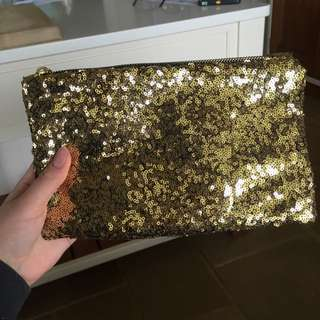 Gold Sequinned Clutch