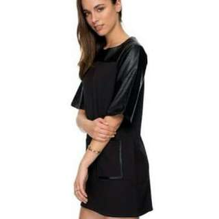 Shift Box Dress Faux Leather Pleather Zalora Black