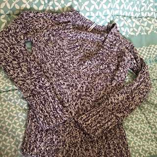 Purple And White Knitted V Neck