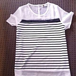 Black And White Shirt - TEMT - Size m