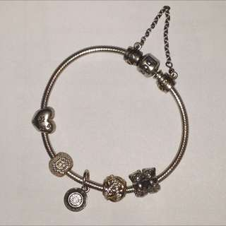 d7591dc3a Pandora Gold Silver Charms Bracelet Safety Chain Pre-loved Selling Cheap  Discount Authentic
