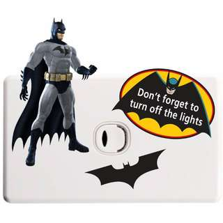 Batman Light Switch Sticker - Totally Movable and Reusable