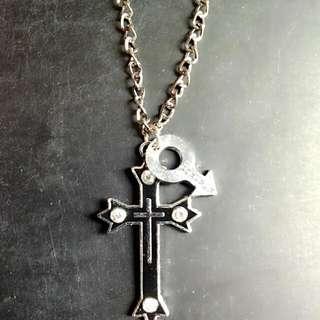 🚚 ★十字架鑲鑽項鍊41cm+性別圖騰★銀黑色 項鍊 手鍊 耳環 耳夾