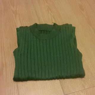 墨綠針織背心