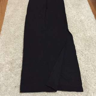 Zara Classic Black Maxi Skirt With Split -size 28