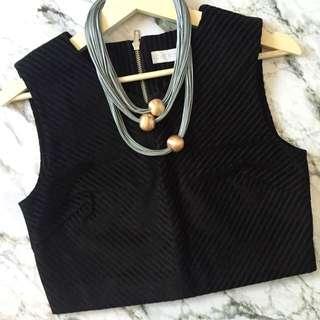*REDUCED!!* LOVE, BONITO - *BNWT* Terriane Textured Crop Top In Black Velvet