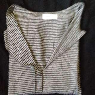 條紋開襟V領五分袖上衣