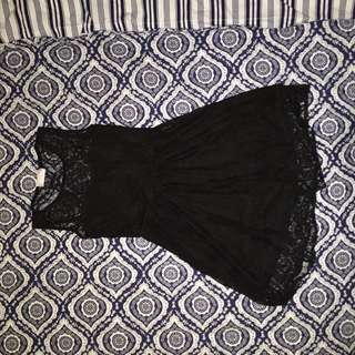 Cute Black Lace Flowy Dress