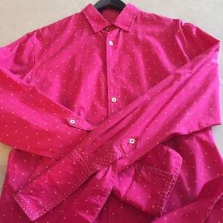 Paul Smith Pink Long Sleeves Shirt with White Polka Dots